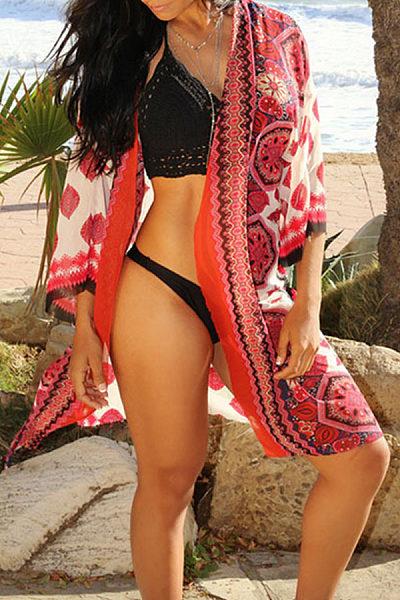 Chiffon Snap Front Printed Three Quarter Sleeve Kimono
