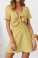 V Neck  Bow  Floral  Casual Dresses
