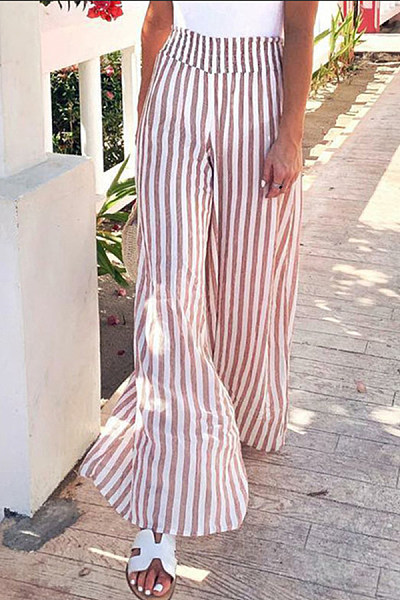 Bootcut  Casual Striped Pants