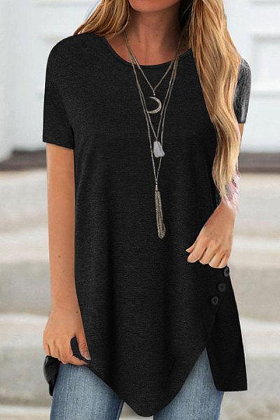 Round Neck Plain Buttons Short Sleeve T-shirt
