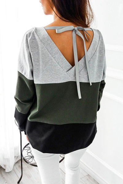 Round Neck  Backless Bowknot  Color Block T-Shirts