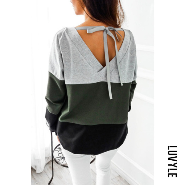 Green Round Neck Backless Bowknot Color Block T-Shirts Green Round Neck Backless Bowknot Color Block T-Shirts