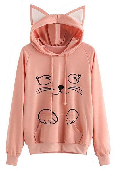 Casual Long Sleeve Cat Hoody
