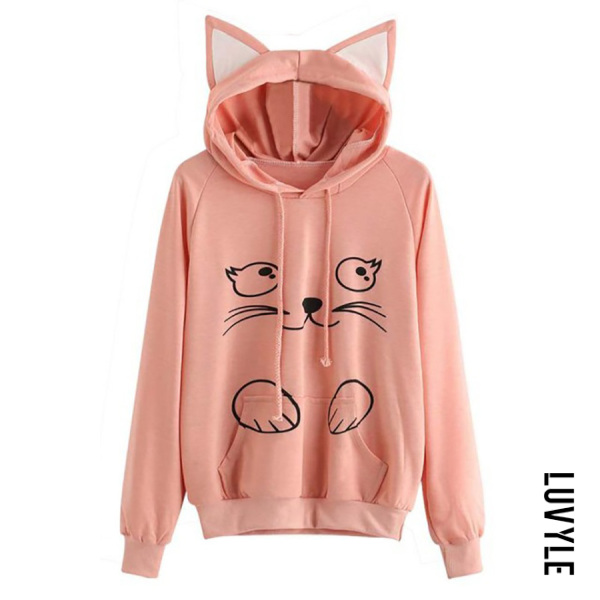 Pink Casual Long Sleeve Cat Hoody Pink Casual Long Sleeve Cat Hoody