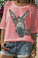 Fashion - Cute donkey head printed lace patchwork Short sleeve T-shirt