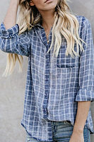 V Neck  Single Breasted  Gingham  Blouses