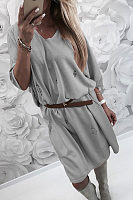 Round Neck  Hollow Out Plain  Three Quarter Sleeve Casual Dresses
