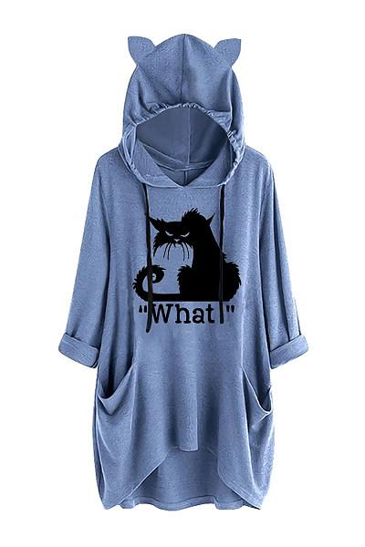Casual ear hooded cat print irregular sweatshirt