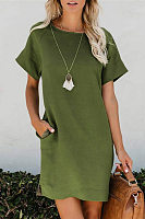 Round Neck Short Sleeve Pockets Plain Casual Dress