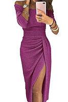 Open Shoulder  Slit  Plain Bodycon Dress