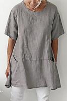 Casual Round Neck Short Sleeve Plain T-Shirt