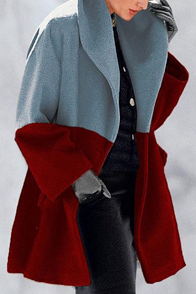 New Fashion Color Matching Shawl Collar Coat