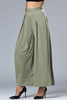 Plain High Rise Waist Wide Leg Pant