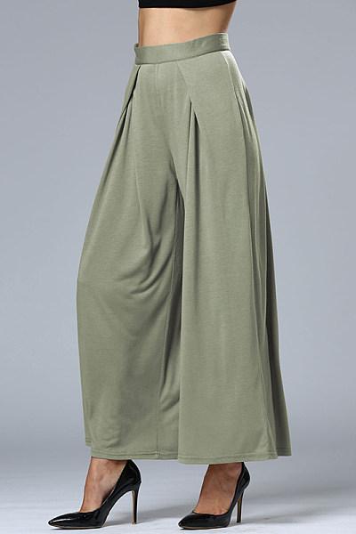 Plain High Rise Waist Wide Leg Pant