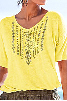 Casual Printed V Neck T-Shirts