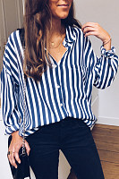 A Lapel Long Sleeve Striped Blouse