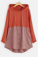 Casual Hooded Long Sleeve Colouring Blouse