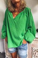 Casual V Neck Long Sleeve Plain Blouse