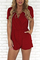 Surplice  Plain  Short Sleeve  Playsuits