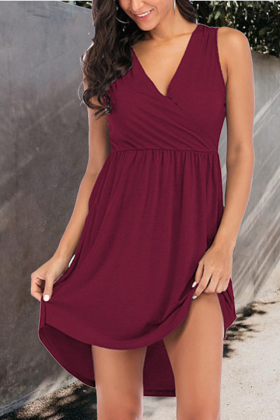 V Neck  Plain  Sleeveless Skater Dresses