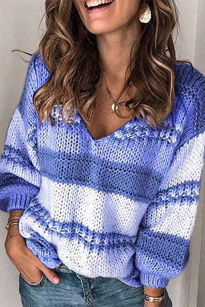 V Neck Colouring Casual Sweater