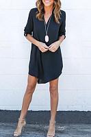 Chiffon V Neck Asymmetric Hem Plain Shift Casual Dresses
