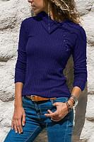 Irregular Collar Decorative Buttons Plain T-shirt