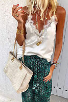 Lace Patchwork V Neck Spaghetti Straps Casual Camis