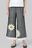 Daisy Printed  Wide-leg Loose Pants
