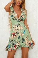Deep V Neck  Flounce  Belt  Floral Printed  Sleeveless Casual Dresses
