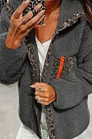 A Lapel Long Sleeve Decorative Leopard Jacket