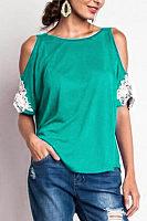 Round Neck  Patchwork Plain T-Shirts