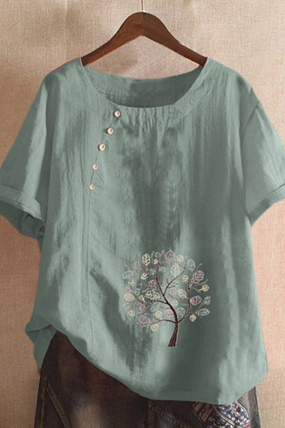 Round Neck Decorative Buttons Printed Blouse