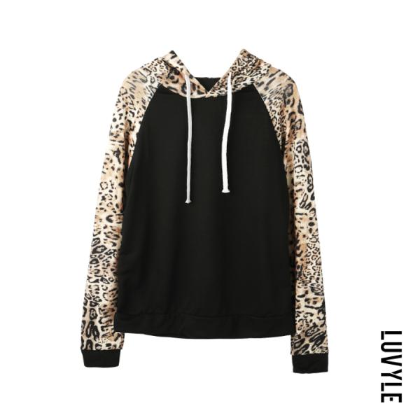 Black Hooded Drawstring Leopard Printed Hoodies Black Hooded Drawstring Leopard Printed Hoodies