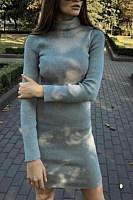 Fashion Turtleneck Solid Color Long Sleeve Slim Dress