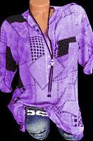 Band Collar Print Long Sleeve Blouse