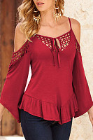 Spaghetti Strap Bell Sleeve Hollow Out Shirt