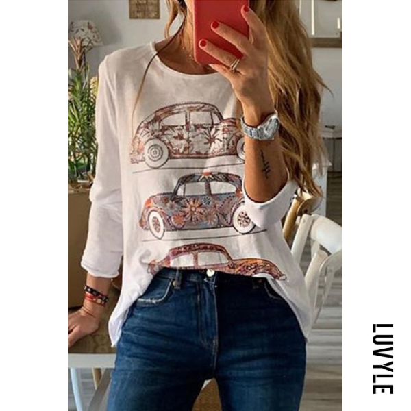 White Casual Round Neck Car Print Long Sleeve T-Shirt White Casual Round Neck Car Print Long Sleeve T-Shirt