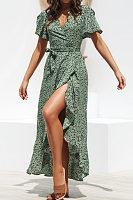 Deep V Neck  Asymmetric Hem  Dot  Short Sleeve Maxi Dresses