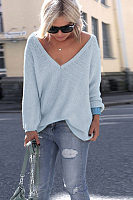 V Neck  Plain Sweaters