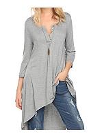 Autumn Spring  Cotton  Women  V-Neck  Asymmetric Hem  Decorative Button  Plain Long Sleeve T-Shirts