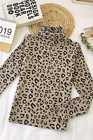 High Neck  Leopard T-Shirts