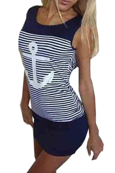 Round Neck  Backless  Patchwork Printed Striped  Sleeveless Bodycon Dresses