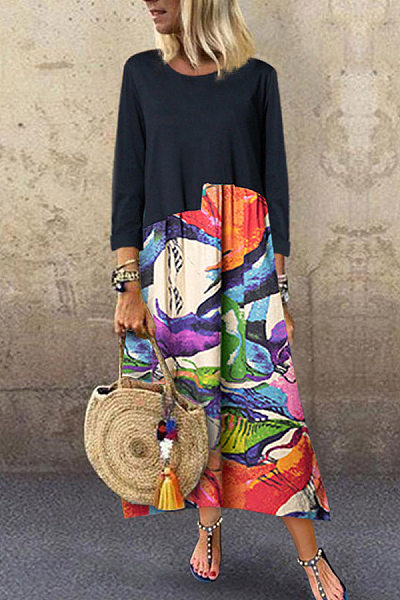 Women's Color Stitching Printed Long-Sleeved Dress