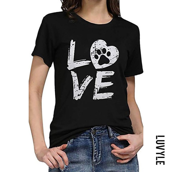 Black Casual Round Neck Letter Print Short Sleeve T-Shirt Black Casual Round Neck Letter Print Short Sleeve T-Shirt