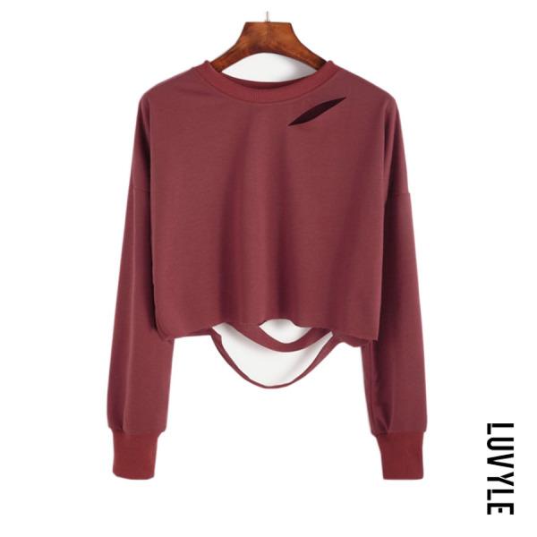 Claret Red Round Neck Cutout Plain T-Shirts Claret Red Round Neck Cutout Plain T-Shirts
