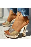 Women's bowknot rhinestone waterproof platform female sandals