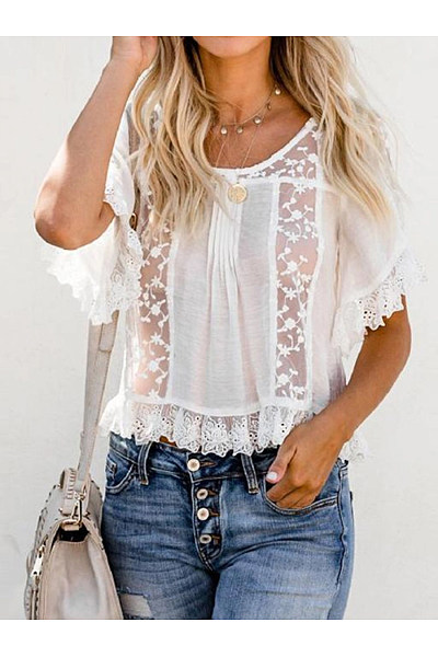 Round Neck Short Sleeve Lace Patchwork T-Shirts