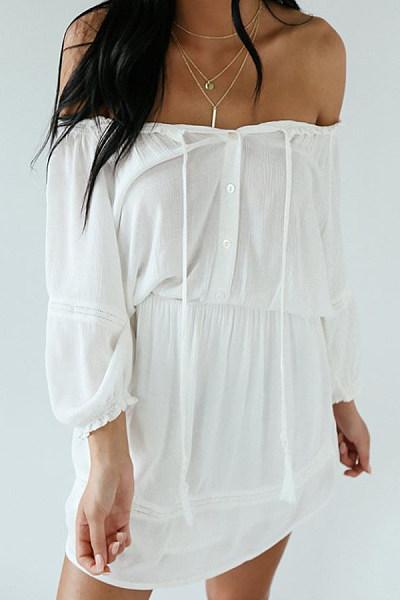 Asymmetric Neck  Plain Casual Dresses