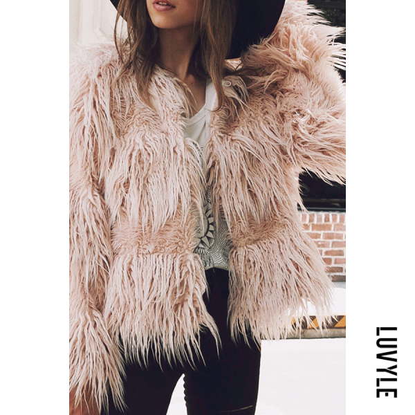 Faux Fur Collar Plain Teddy Coat